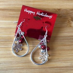 Happy Holidays Drop Earrings with Fish Hook close